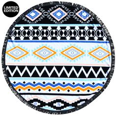 The Chella Bohemian round beach towel with black fringe. 150 cm of awesomeness I 100 % Cotton Why its Rad: • It fits two people. Now you and bae only have to pack one towel. (Bae= dog, cat, best frien