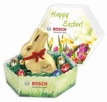 Image of printed box with 30g chocolate easter egg foiled wrapped promotional hexagonal easter lidded gift box with lindt bunny and mini eggs custom printed bespoke hexagonal gift box with one llndt chocolate bunny and negle Image collections