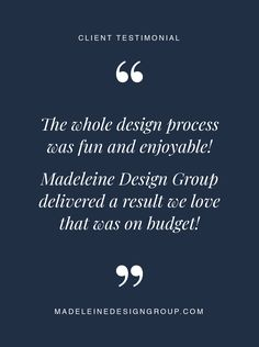 Our client's testimonial about our interior design services. We love our clients!