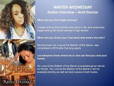 #WriterWednesday  You can check out Ariel Desiree's complete interview, as well as others on my blog: teresadpatterson.blogspot.com. If you're an author who'd like to be featured for Writer Wednesday, email me at teresadpatterson2004@yahoo.com for an Author's Questionnaire. Please put Writer Wednesday in the subject line. Your interview will be posted on Blogger, Facebook, Google Plus, Instagram, Pinterest, Twitter, & Wordpress, as well as shared on my Facebook fan page.