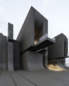 by Roman Vlasov ( project / 819 ) Black Architecture, Architecture Design, House Architecture Styles, Concrete Architecture, Facade Design, Futuristic Architecture, Amazing Architecture, Contemporary Architecture, Exterior Design