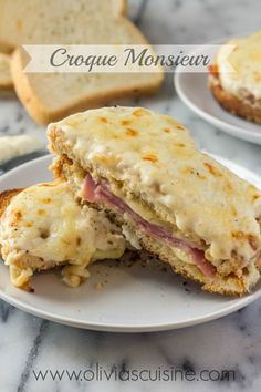 Monsieur Croque Monsieur - An iconic traditional french ham and cheese sandwich made with Gruyere cheese!Croque Monsieur - An iconic traditional french ham and cheese sandwich made with Gruyere cheese! Cheese Sandwich Recipes, Soup And Sandwich, Sandwiches, Ham And Cheese, Gruyere Cheese, Croque Mr, Traditional French Recipes, Enjoy Your Meal, Cocina Diy