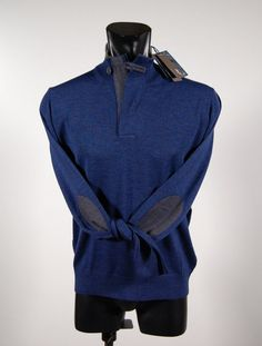 Pure wool zip mock sweater with patches for ocean star