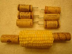 Wine cork corn on the cob holders!