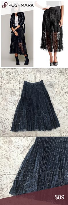 Free People Lace Midi Pleated Skirt Black Lace midi Length shell with mini length black lining. Perfect dressed up or down - for work with a silk blouse or play with a crop top! Knife style pleating, back zipper and faux leather waist band. Brand new with tags! Free People Skirts Midi