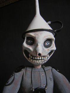 Skeleton OZ Tinman with AX  Folk Art Doll sculpture 2 by wildrobyn, $375.00