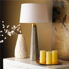 Concrete Column Table Lamp. Love the texture and mix of materials.