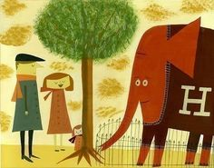 The Abernathy family & Humbert the rare red sweater wearing elephant.