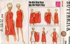 Sewing Patterns,Vintage,Out of Print,Retro,Vogue Simplicity McCall's,Over 7000 - Butterick 4699 Retro 1960's 3 Armhole Wrap Dress Med