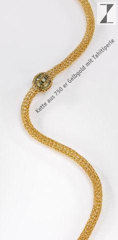 Kette - Collier Draht verstrickt mit Tahitiperle www.atelier-zellhuber.de #Gold #Schmuck #Stricken #Draht #Unikat #Perle
