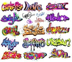 Graffiti urban art vector set Stock Vector