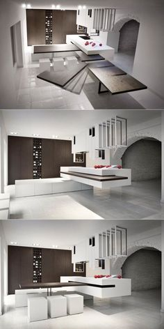 These clever design, 'The Cut', has units that can be reconfigured into different setups, including a slide-away table that can be concealed... Minimalist Kitchen, Minimalist Bedroom, Minimalist Living, Minimalist Interior, Minimalist Decor, Modern Minimalist, Kitchen Ideas, Kitchen Layout, Kitchen Colors