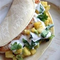 """Soft Mahi Mahi Tacos with Ginger Lime Dressing 