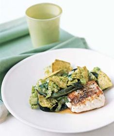 Pan-Seared Grouper With Romaine Slaw from realsimple.com #myplate #protein #vegetables
