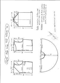 Esquema de modelagem de vestido de manga longa tamanho 40.