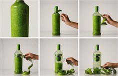 """Boisson alcoolisée fruitée;  Packaging secondaire: l'emballage s'enlève au fur et à mesure, le consommateur peut faire apparaître ce qu'il veut de la bouteille.  Côté intriguant, esthétique, objet de décoration  Packaging primaire: bouteille sobre, bouchon vert, étiquette verte  Différenciation: personnalisation  Support de séduction: impact visuel innovant  Valeur: tendance du """"green""""  Couleur : générosité, invite à l'équilibre, jugement tempéré, nature, bio"""