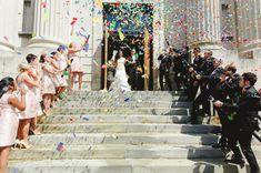 Colorful confetti ceremony exit