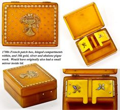Antique Georgian Era French 'Boite a' Mouche' or Patch Box, 18k Yellow Gold pique work accented with silver. The box itself is faux blond shell.