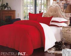 Lenjerie de pat bumbac satinat Pucioasa UNI rosu si alb Comforters, Satin, Blanket, Bed, Creature Comforts, Blankets, Stream Bed, Elastic Satin, Carpet