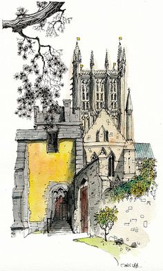 Place specific pictures of where you want to travel in your travel area. (Northwest) Quiet Corner Wells Cathedral by Chris Lee Architecture Drawing Sketchbooks, Art And Architecture, Building Sketch, Building Illustration, Pen And Watercolor, Foto Art, Urban Sketchers, Sketch Painting, Art Graphique