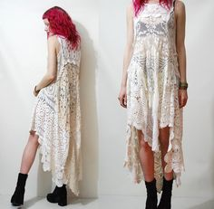 RESERVED // Crochet Dress VINTAGE LACE White Cream by cruxandcrow