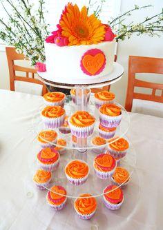 orange & pink!  baby shower cupcake tower #eccodomanicelebration