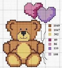 Imagem relacionada Cross Stitch Boards, Mini Cross Stitch, Pixel Crochet, Crochet Bear, Baby Cross Stitch Patterns, Cross Stitch Designs, Cross Stitching, Cross Stitch Embroidery, Stitch Cartoon