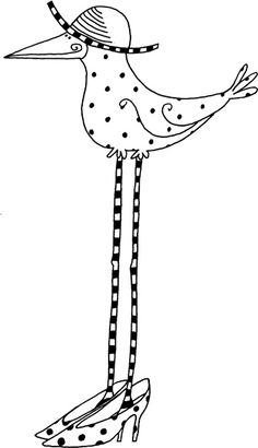 tall bird in heels with a hat Doodle Drawings, Doodle Art, Vogel Clipart, Embroidery Patterns, Hand Embroidery, Buch Design, Crazy Bird, Coloring Book Pages, Whimsical Art