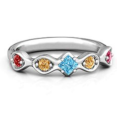 Infinite Wave with Princess Cut Center Stone Mother's Ring #jewlr