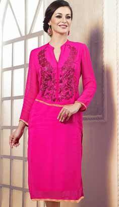 Indian Fashionable Pink Bamberg Georgette Kurti