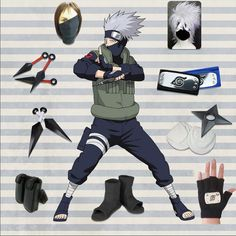 Hatake Kakashi Cosplay Costume + Accessories Full Set Cosplay Naruto Fan Store    Very Awesome! !  Like and share!   Get yours here  http://narutofanstore.com   #naruto