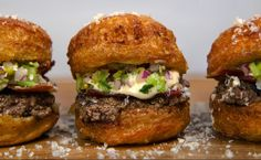 This week's Pornburger is a French inspired sandwich with a parmesan cronut in lieu of the classic bun, beef marrow french onion dip—which I'm sure is to die for—cornichon relish, and black peppered bacon.
