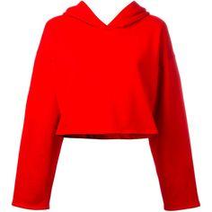 Golden Goose Deluxe Brand cropped hoodie (11,595 DOP) ❤ liked on Polyvore featuring tops, hoodies, red, red cropped hoodie, long sleeve crop top, sweatshirt hoodies, hooded pullover and cotton hooded sweatshirt
