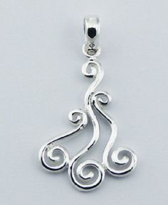Silver pendant hand crafted 925 sterling silver modern twirl 35mm height new PSA