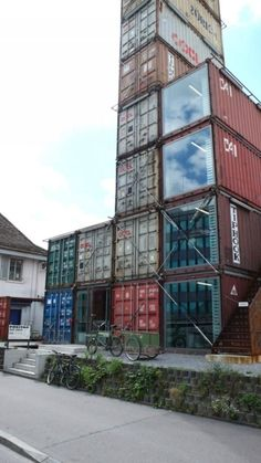 Sustainable design & architecture: Freitag in Zurich. Building made entirely of recycled shipping containers.
