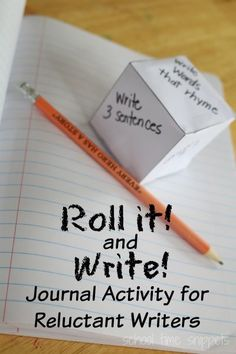 It and Write! Creative Journal Idea Roll It! and Write! is a fun and simple journal activity for your reluctant writer(s) no matter what age!Roll It! and Write! is a fun and simple journal activity for your reluctant writer(s) no matter what age! School Age Activities, Art Therapy Activities, Language Activities, Literacy Activities, Language Games For Kids, Language Arts Games, School Games, Literacy Centers, Writing Lessons