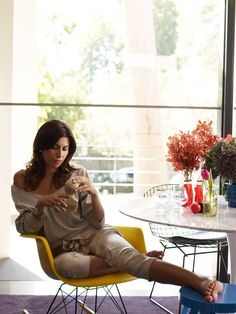 Jodhi Meares getting comfy in the Clara living room.
