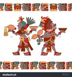 vector illustration cartoon style aztec maya color cacao pattern
