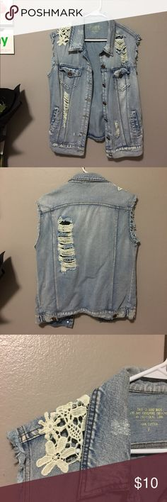 DENIM VEST w lace embellishment One size fits all. Baggy/free look. Great for layering. Jackets & Coats Jean Jackets