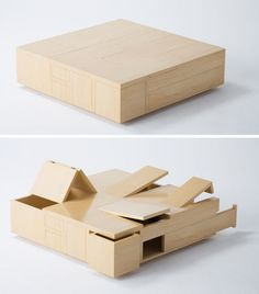 Plywood Table is All Secret Compartments