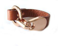 Goldtone and leather cuff bracelet