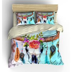 Bedding Southwest Dream Catcher Skull Floral Watercolor Comforter... (160 CAD) ❤ liked on Polyvore featuring home, bed & bath, bedding, duvet covers, home & living, silver, king duvet, floral twin bedding, queen duvet set and queen bedding