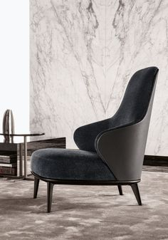 Bergere high-back fabric armchair Leslie Collection by Minotti | design Rodolfo Dordoni