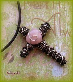 Wire Cross Pendant Necklace w. Pink Opal Heart. $20.00, via Etsy.