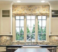Valance Curtain Ideas for Kitchen Windows, Explained – PWV Kitchen Window Treatments, Custom Window Treatments, Kitchen Window Shelves, Kitchen Windows, Wood Valance, Valance Curtains, Faux Blinds, Window Blinds, Kitchen Shades