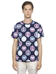 KENZO - LOGOS PRINTED COTTON T-SHIRT - LUISAVIAROMA - LUXURY SHOPPING WORLDWIDE SHIPPING - FLORENCE
