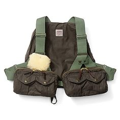 Discover the Filson Foul Weather Fly Fishing Vest. A water-repellent fishing vest with attached rucksack and removable sheepskin shearling fly patch. Fly Fishing Gear, Gone Fishing, Best Fishing, Fishing Lures, Fishing Boats, Fishing For Beginners, Fishing Tricks, Fishing Basics, Fishing Guide