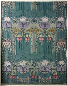 A Gavin Morton for Morton Sundour woven wool gauze furnishing textile, circa 1910, woven in pastel wools with elongated iris repeats
