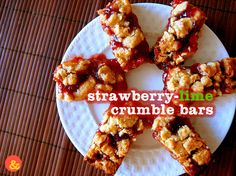 Strawberry-Lime Crumble Bars: A thick and buttery crust flavored with almonds and lime zest, topped with sweet strawberry jam and a crumbly topping!
