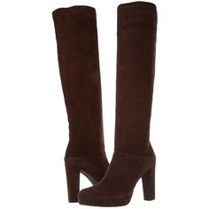 Pre-owned Stuart Weitzman Crushable Knee High Timber Suede Leather... (315 CAD) ❤ liked on Polyvore featuring shoes, boots, brown, suede leather boots, suede boots, brown boots, brown suede boots and brown platform boots